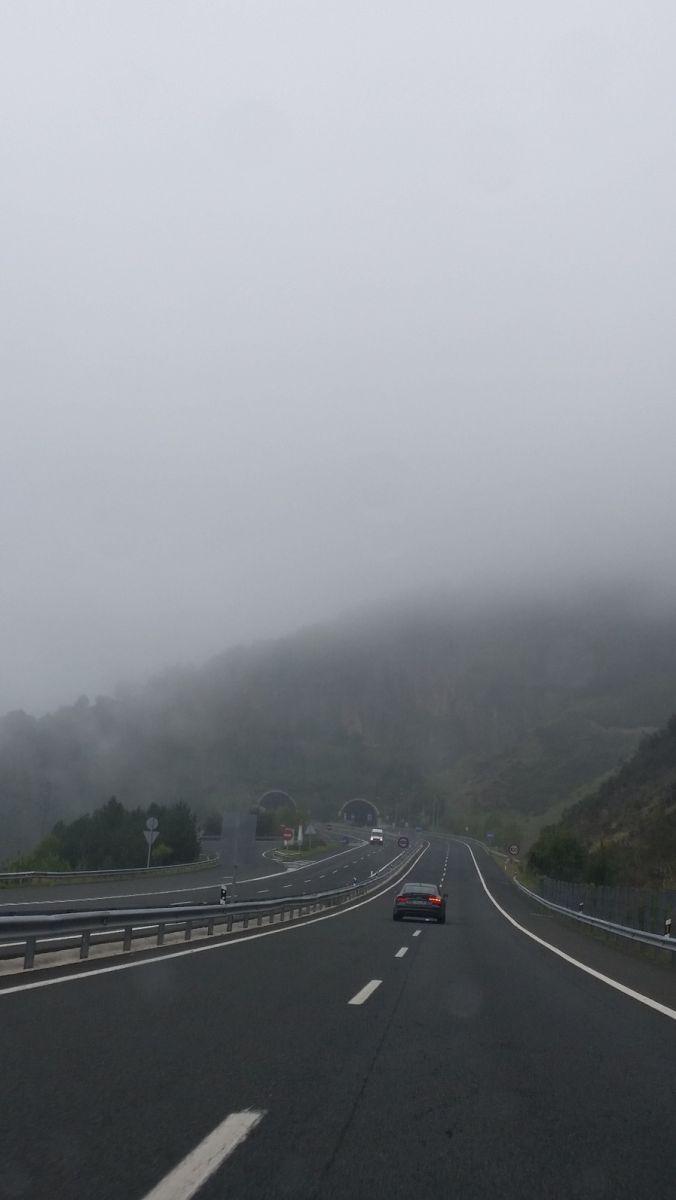Spain France border driving through cloud