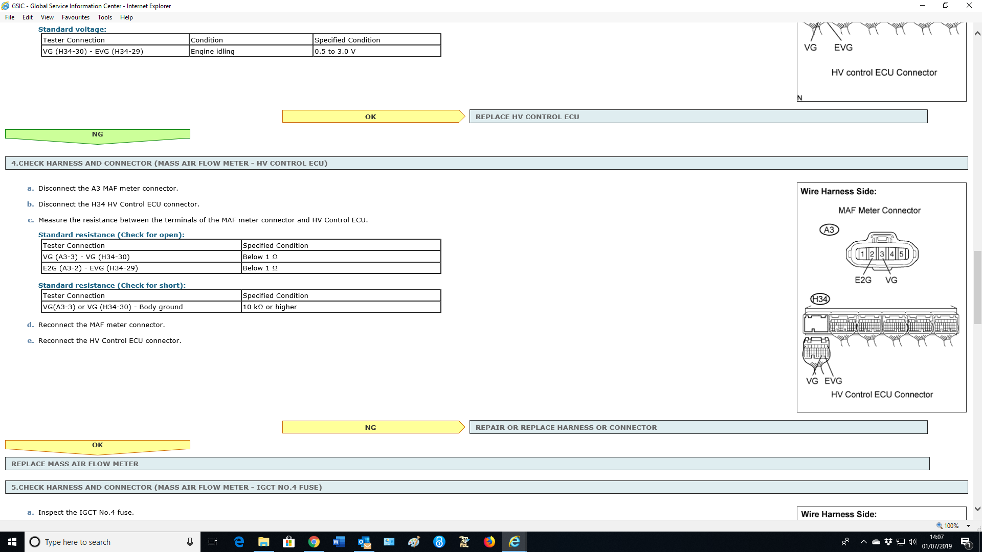 check Hybrid System' 'check Vsc System' Rx400 Inverte - RX